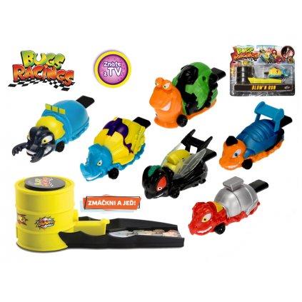 Bugs Racings 9cm fúkni a choď so samolepkou a vystreľovaciou rampou 6druhov na karte