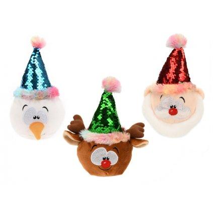 Vianočný plyšák 18cm s čiapkou a flitrami 3druhy