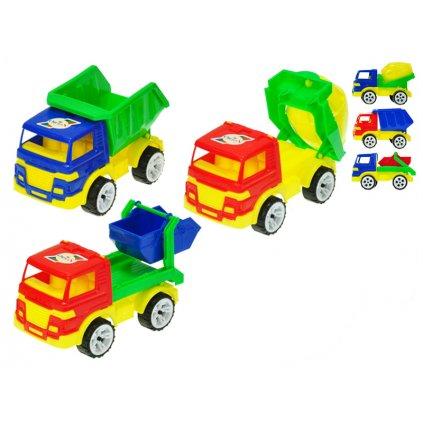 Auto stavebné 15-16cm vol'ný chod 3druhy 2 farby