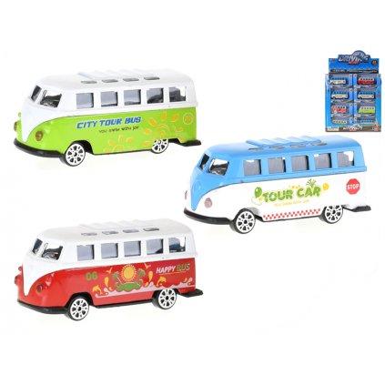 Autobus 7,5cm kov voľný chod 3farby v krabičke 24ks v DBX