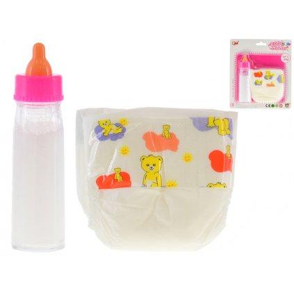 Fľaštička s mliekom 13,5cm a plienka pre bábiky na karte