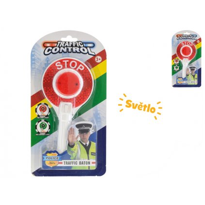 Policajné plácačka semafor 23cm na batérie so svetlom na karte
