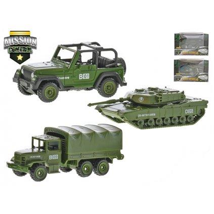 Vojenské vozidlá 7-9cm kov na voľný chod 5druhov v krabičke