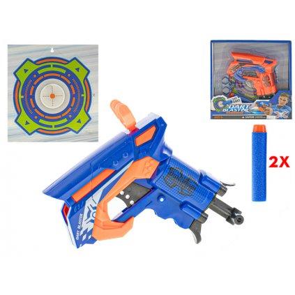Pištoľ 11cm na natiahnutie s penovými nábojmi 2ks a terčom v krabičke