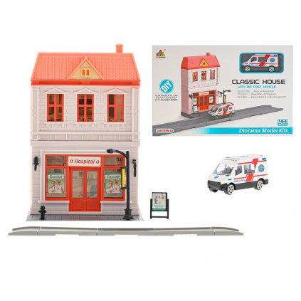 Nemocnica skladacia s ambulanciou 7cm kov na voľný chod v krabičke