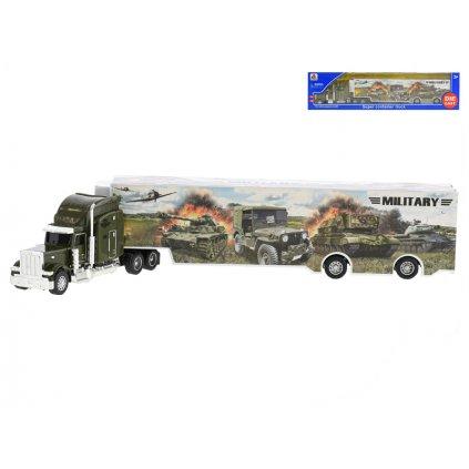 Kamión vojenský 35cm kov na voľný chod v krabičke