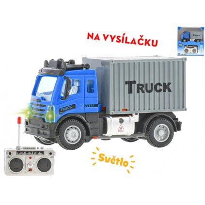 R/C auto nákladné kontajnerové 12,5cm 1:64 plná funkcia na batérie so svetlom 27MHz v krabičke