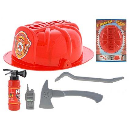 Požiarny set s helmou 5ks v krabičke