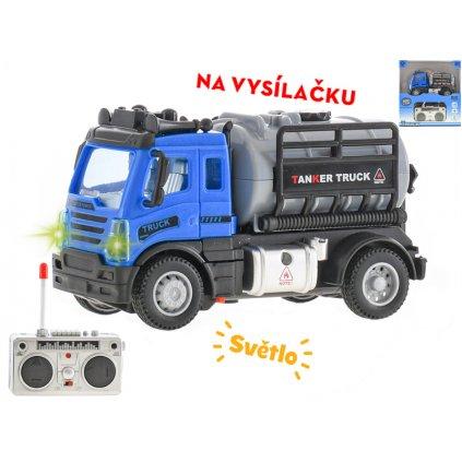 R/C auto nákladné cisterna 12cm 1:64 plná funkcia na batérie so svetlom 27MHz v krabičke