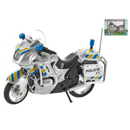 Motorka policajná 12cm kov na voľný chod v krabičke