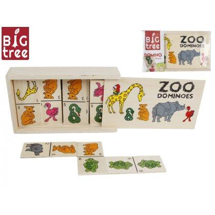 Domino drevená zvieratká 15,5x9x4cm 28ks v drevenej krabičke vo fólii, H1610016