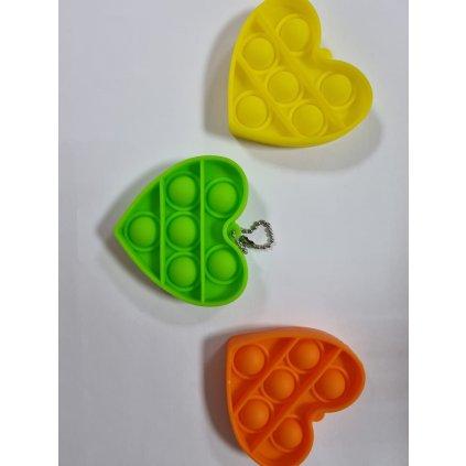 Antistresová hračka  POP IT prívesok srdce 6,5cm