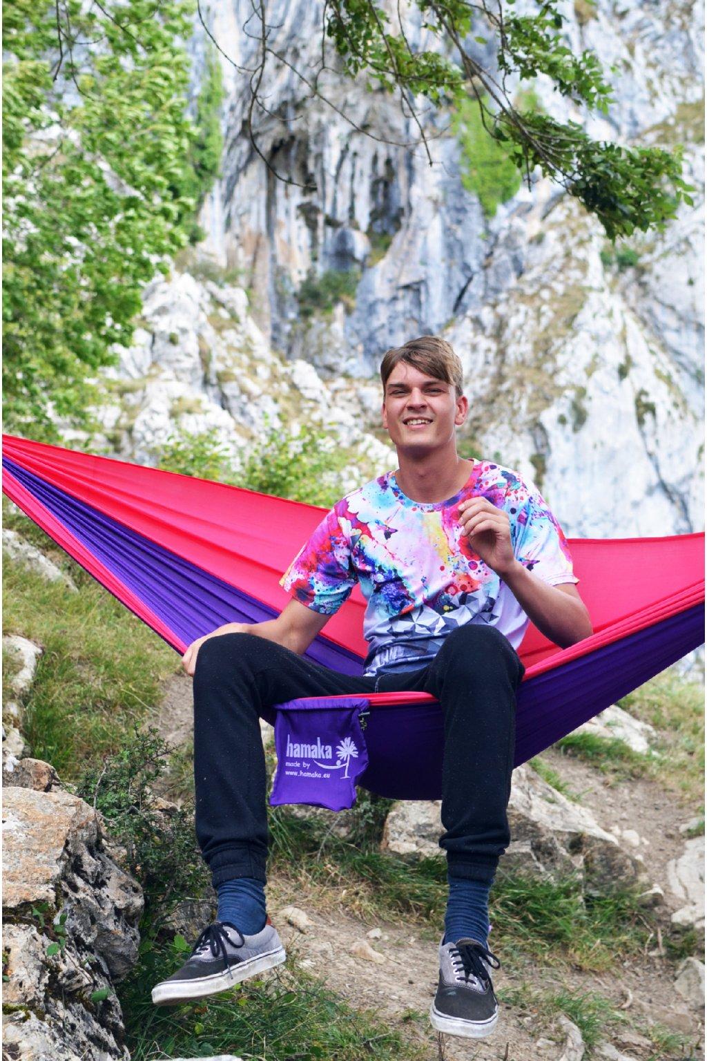 Houpací síť Hamaka originál pro jednoho růžovo-purpurovo-růžová