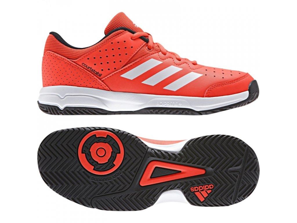 Juniorské boty Adidas Performance Court Stabil JR - červené