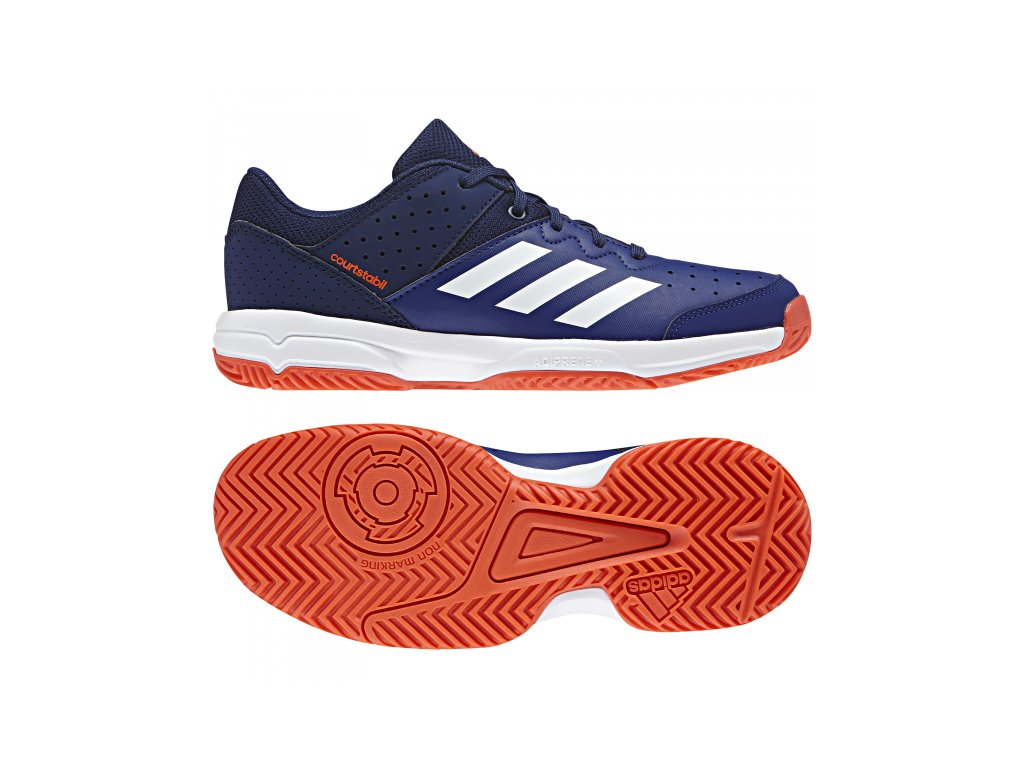Juniorské boty Adidas Court Stabil JR - modrá 2018