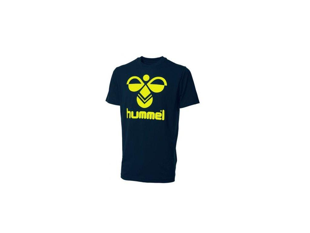 Hummel Classic Bee bavlněné tričko - tmavě modrá/fluo žlutá