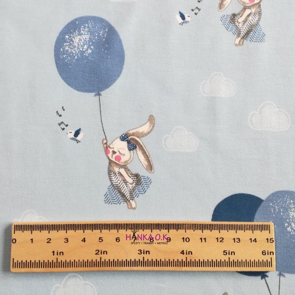Úplet králíček s balonky na modré 220g