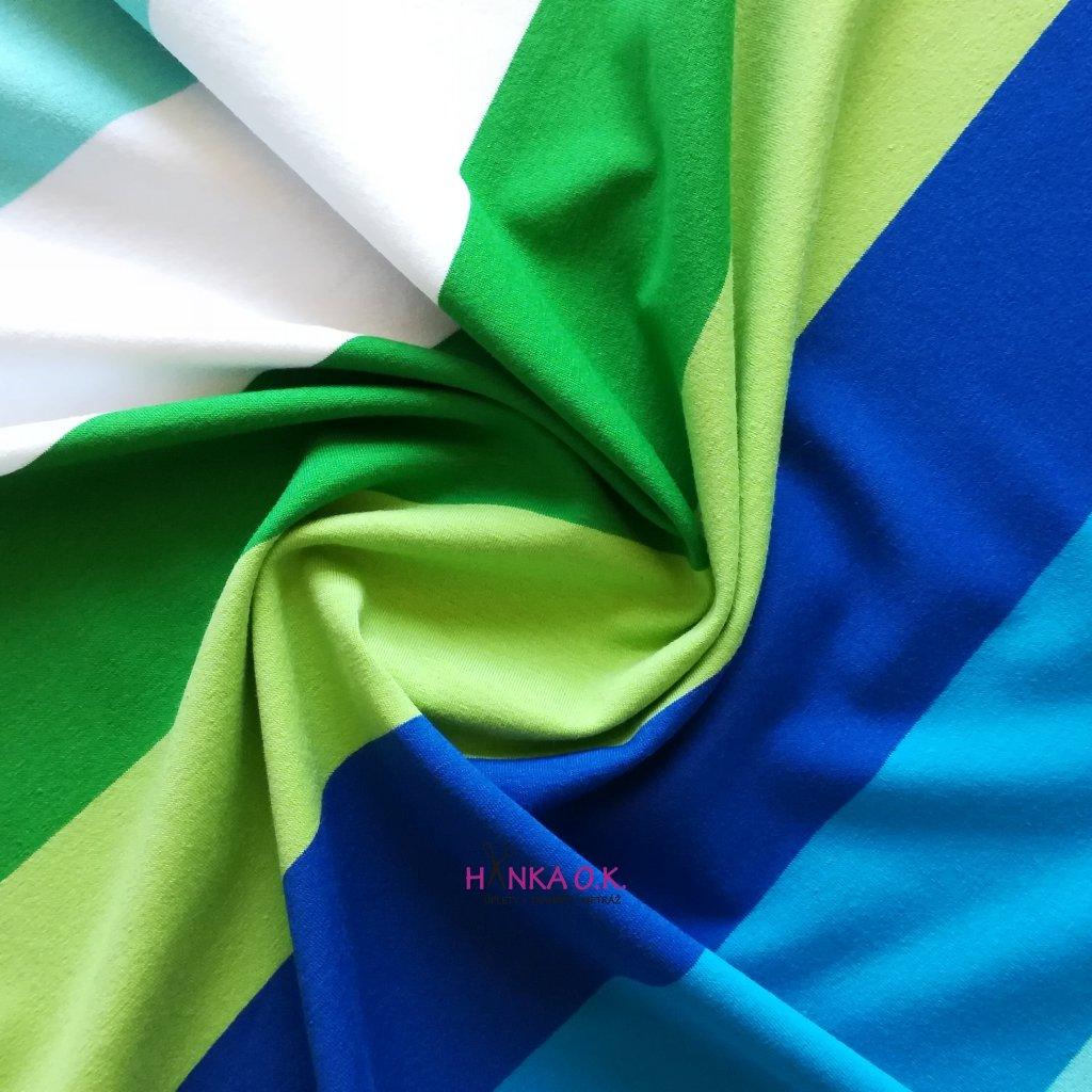 Úplet široké barevné pruhy zelená modrá