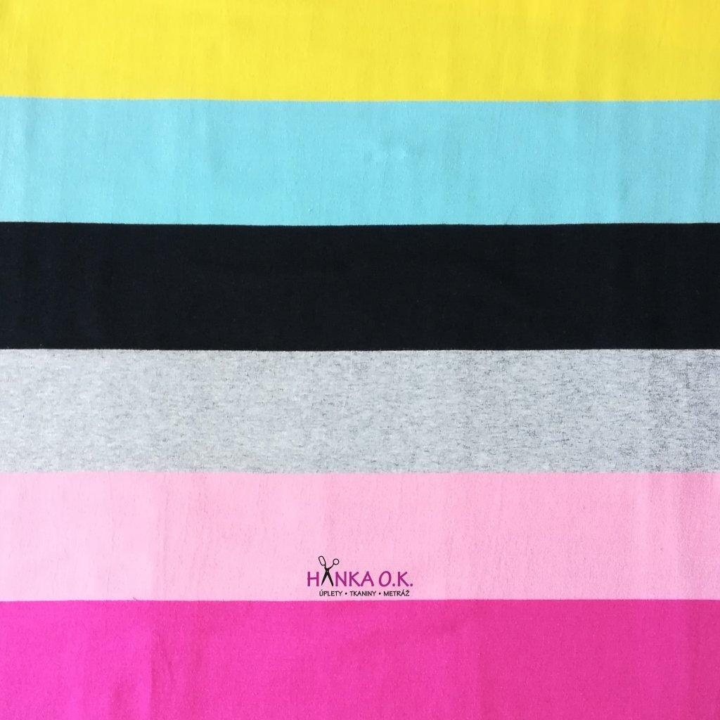 Úplet široké barevné pruhy růžová, žlutá, černá