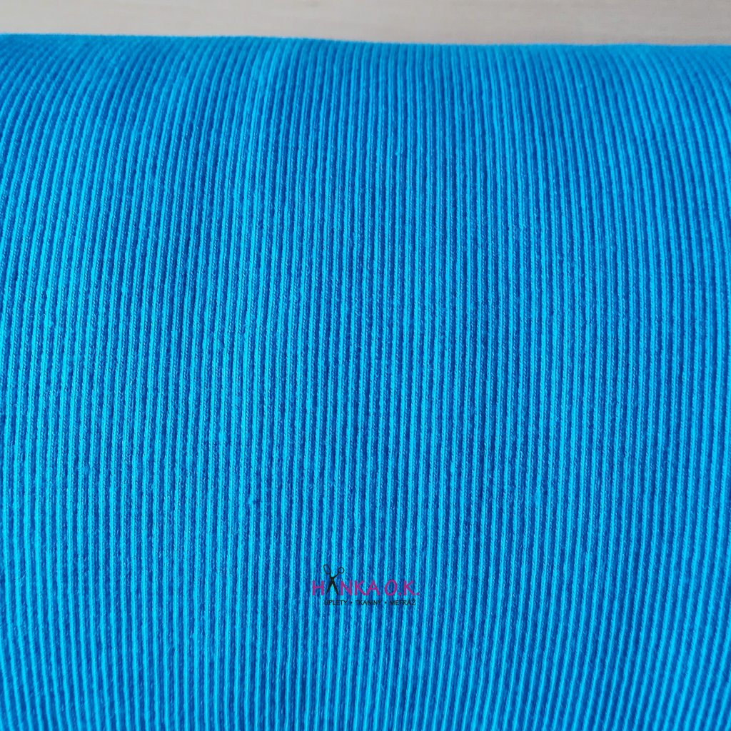 náplet patent žebro RIB modrý tyrkysový tunel