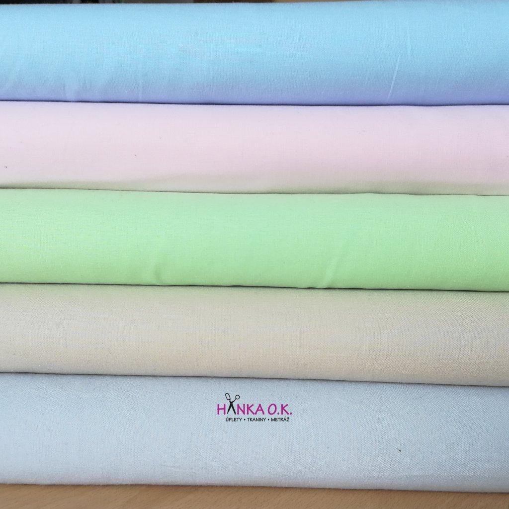 Bavlněná tkanina -  plátno 135g - zelená světlá