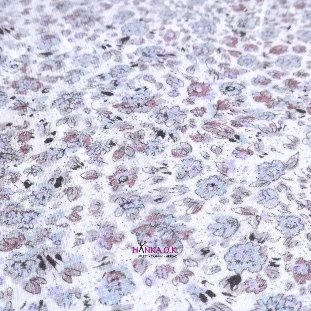 Úplet jemné květiny 210g šedá