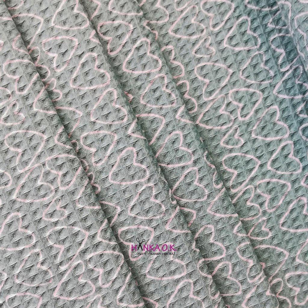 Bavlněná tkanina -  waflová vazba 240g - mint se srdíčky