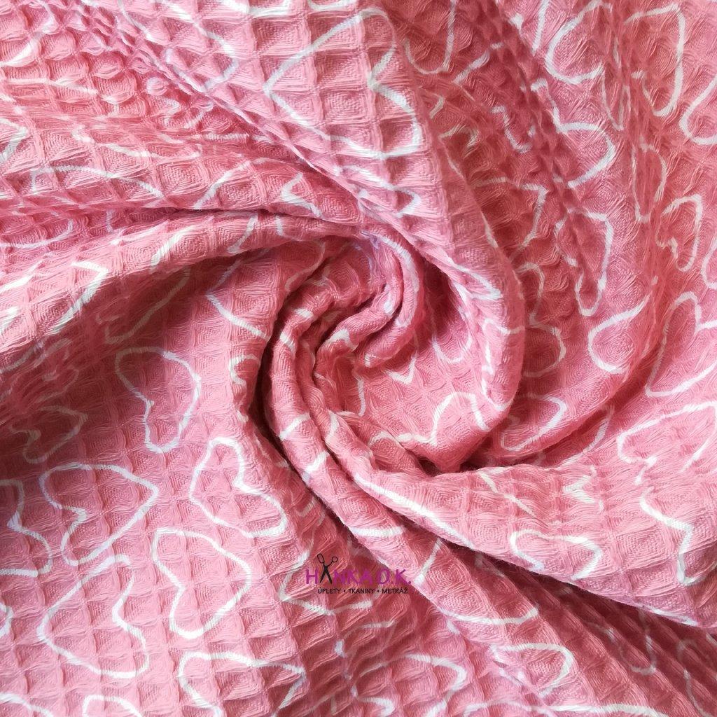 Bavlněná tkanina -  waflová vazba 240g - růžová se srdíčky - vafle