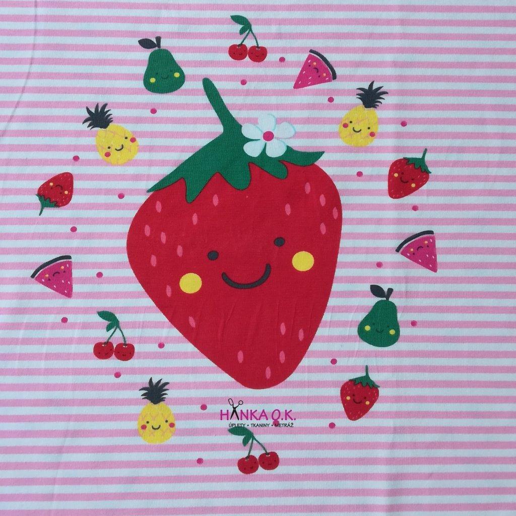Panel úplet bavlna letní ovoce růžová - na celé tričko 100x150cm