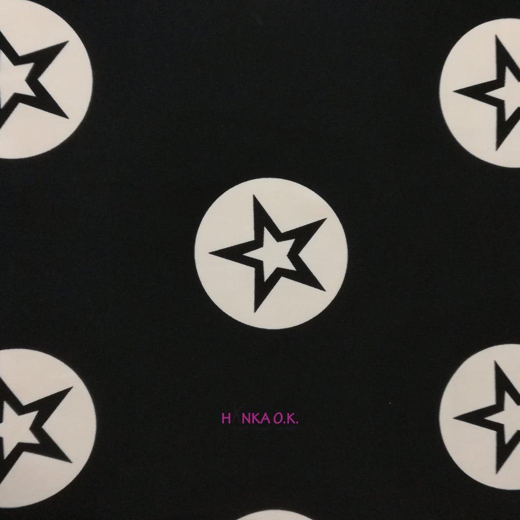 Teplákovina černá velké hvězdy - 240g