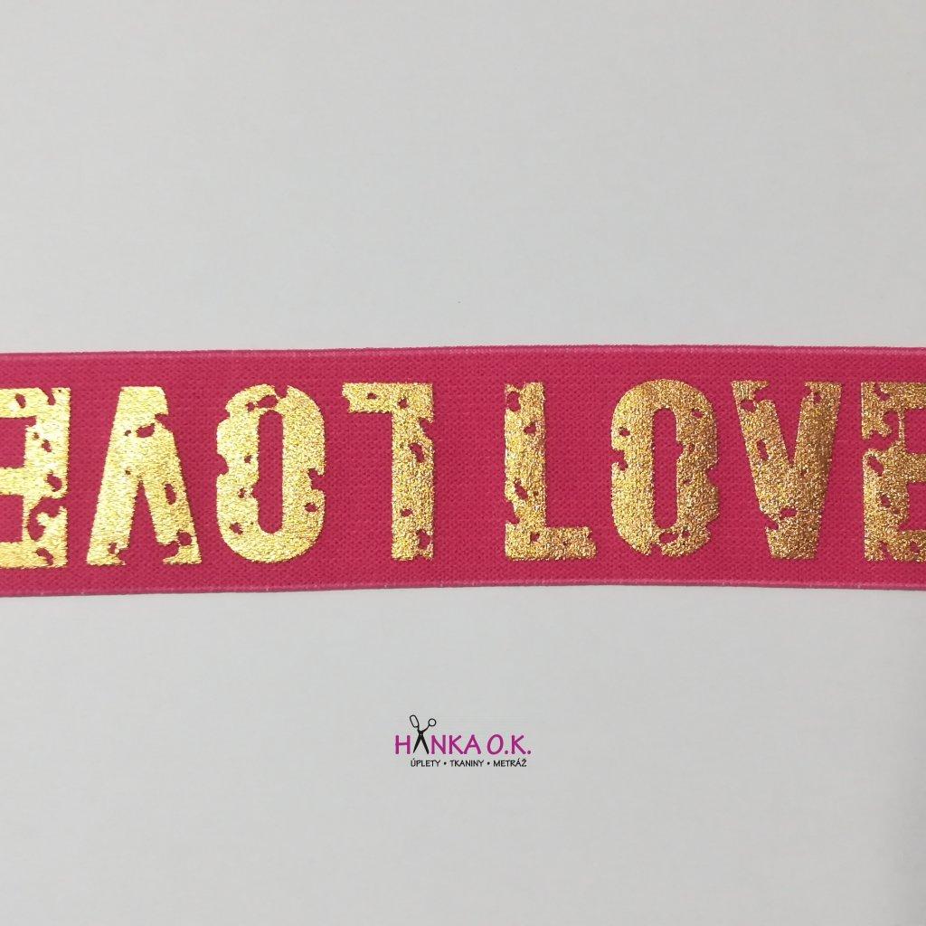 Guma - hladká pruženka s potiskem LOVE růžová