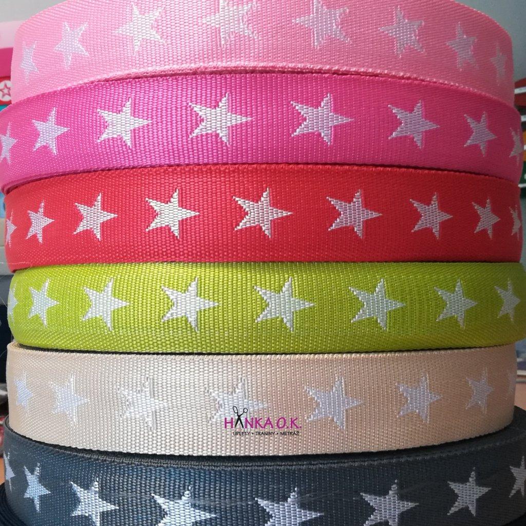 Popruh šíře 4 cm - barevný s hvězdami