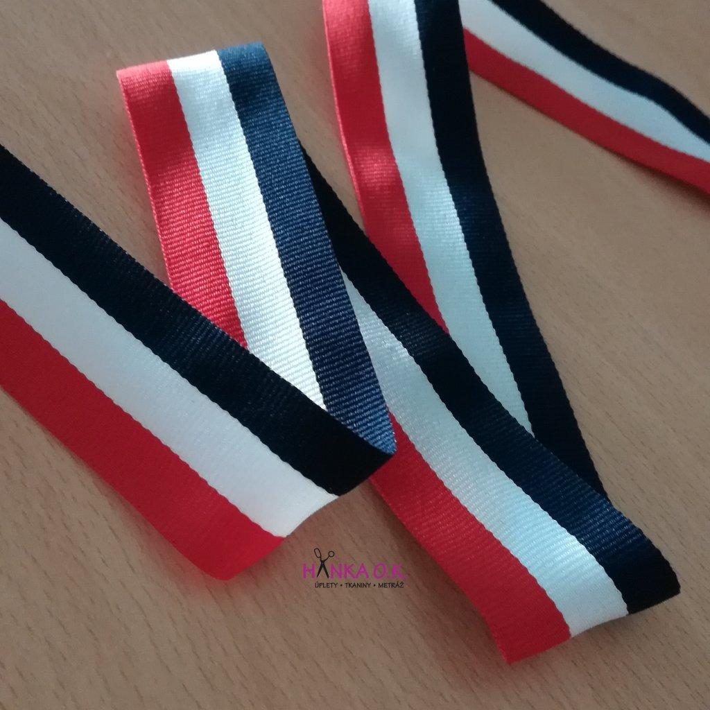 Lampas - rypsová stuha - modrá, bílá červená