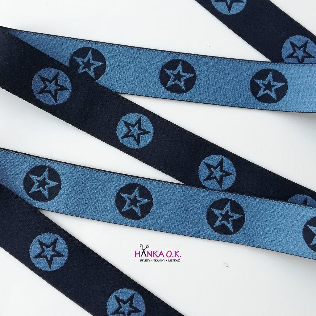 Guma - pruženka hladká hvězdy modrá navy s šedomodrou