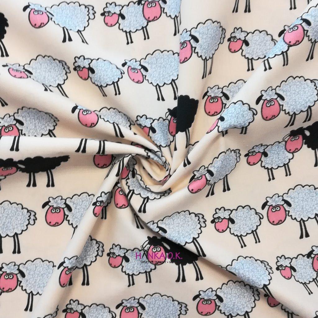 Bavlněná tkanina -  plátno 125 g - bavlna s ovečkami