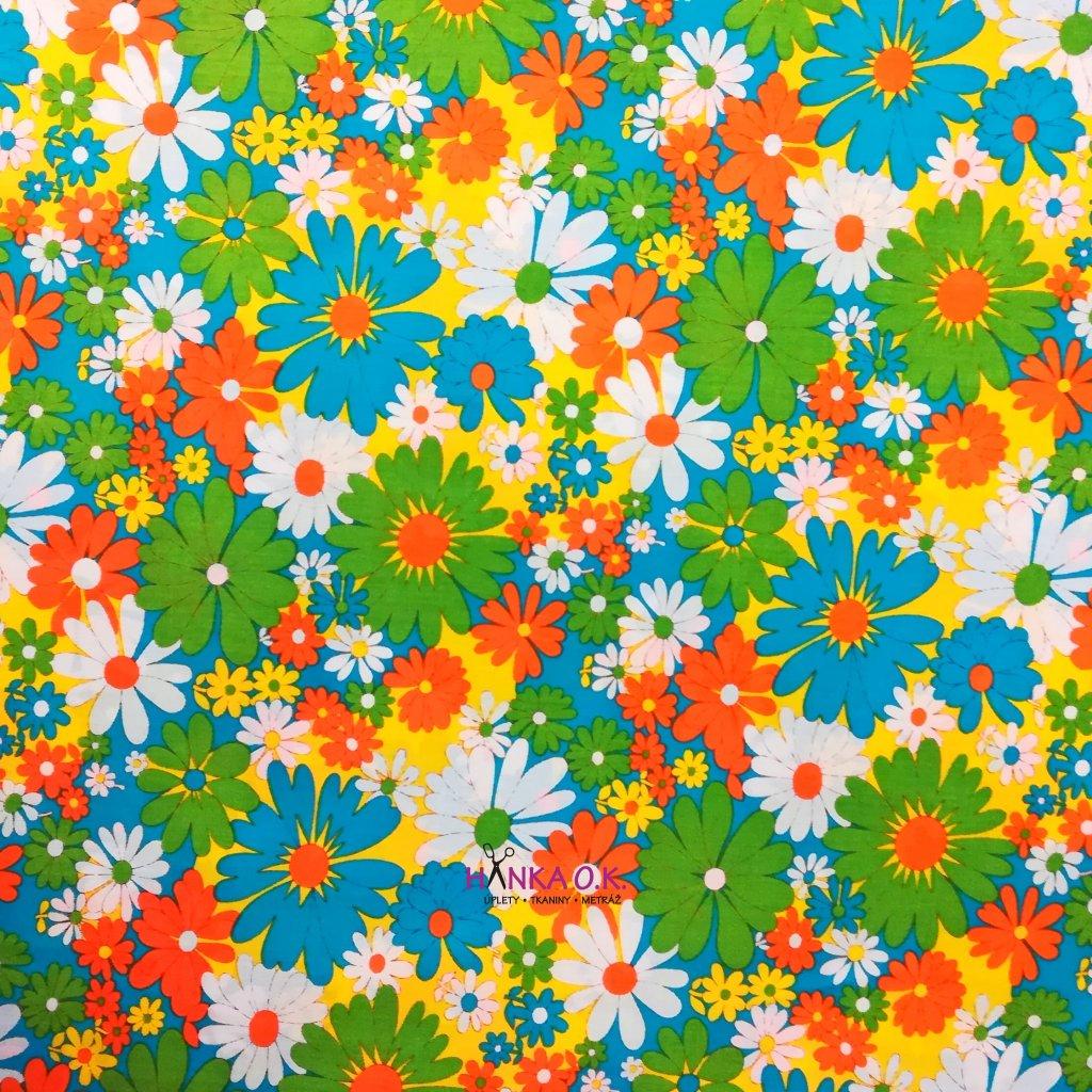 Bavlněná tkanina - plátno 135g - flowers oranžová, žlutá
