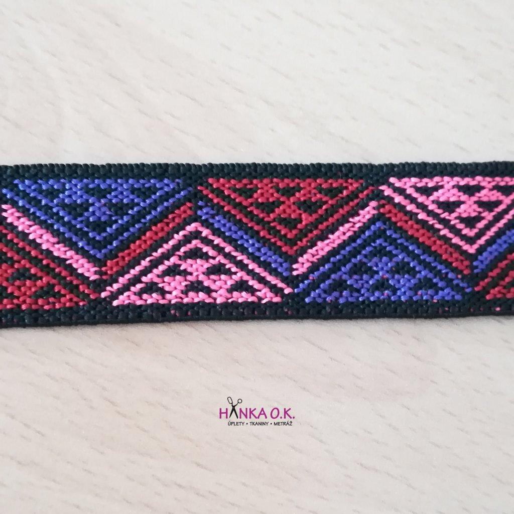 Guma - pruženka ozdobná 25mm geometrie růžová