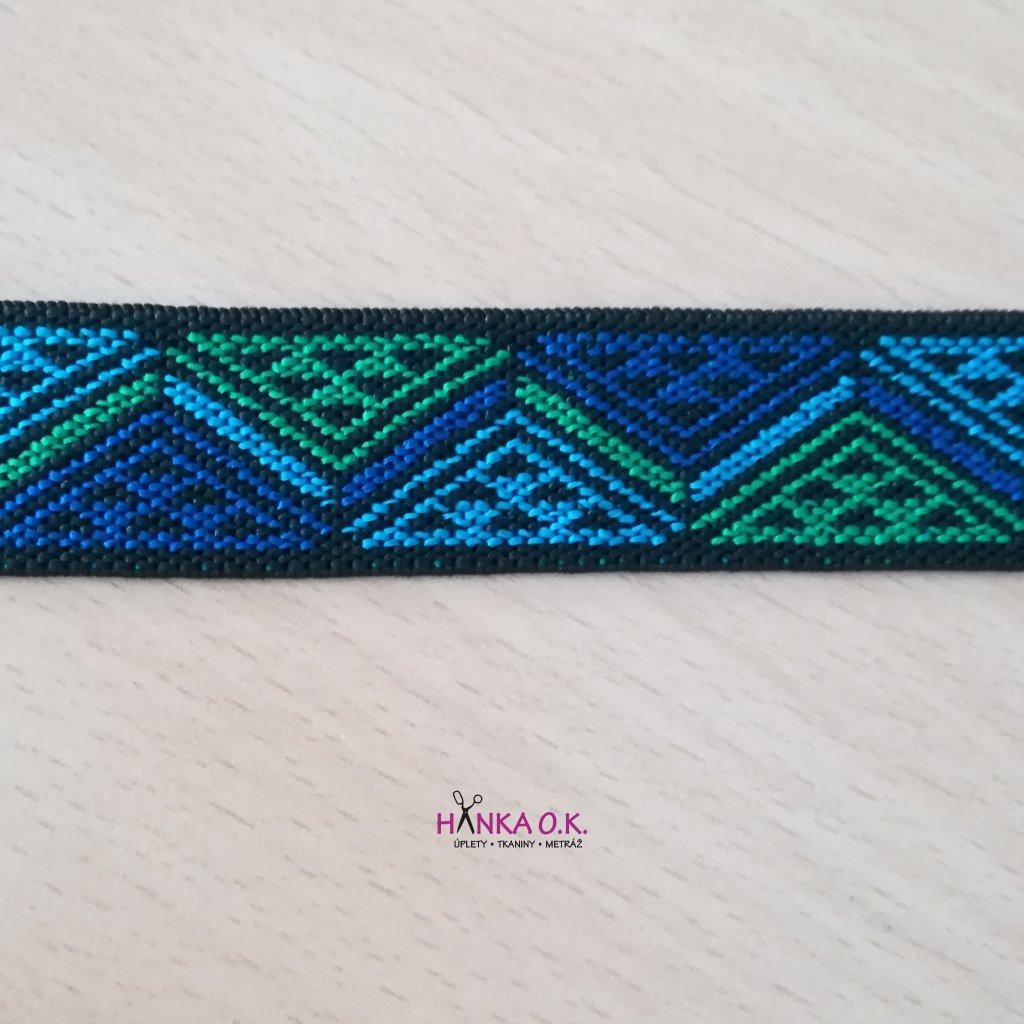 Guma - pruženka ozdobná 25mm geometrie modrá