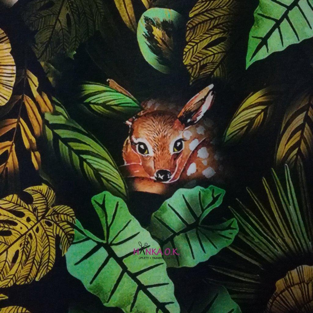 Teplákovina nepočesaná digitisk zvířátka v listí 240g