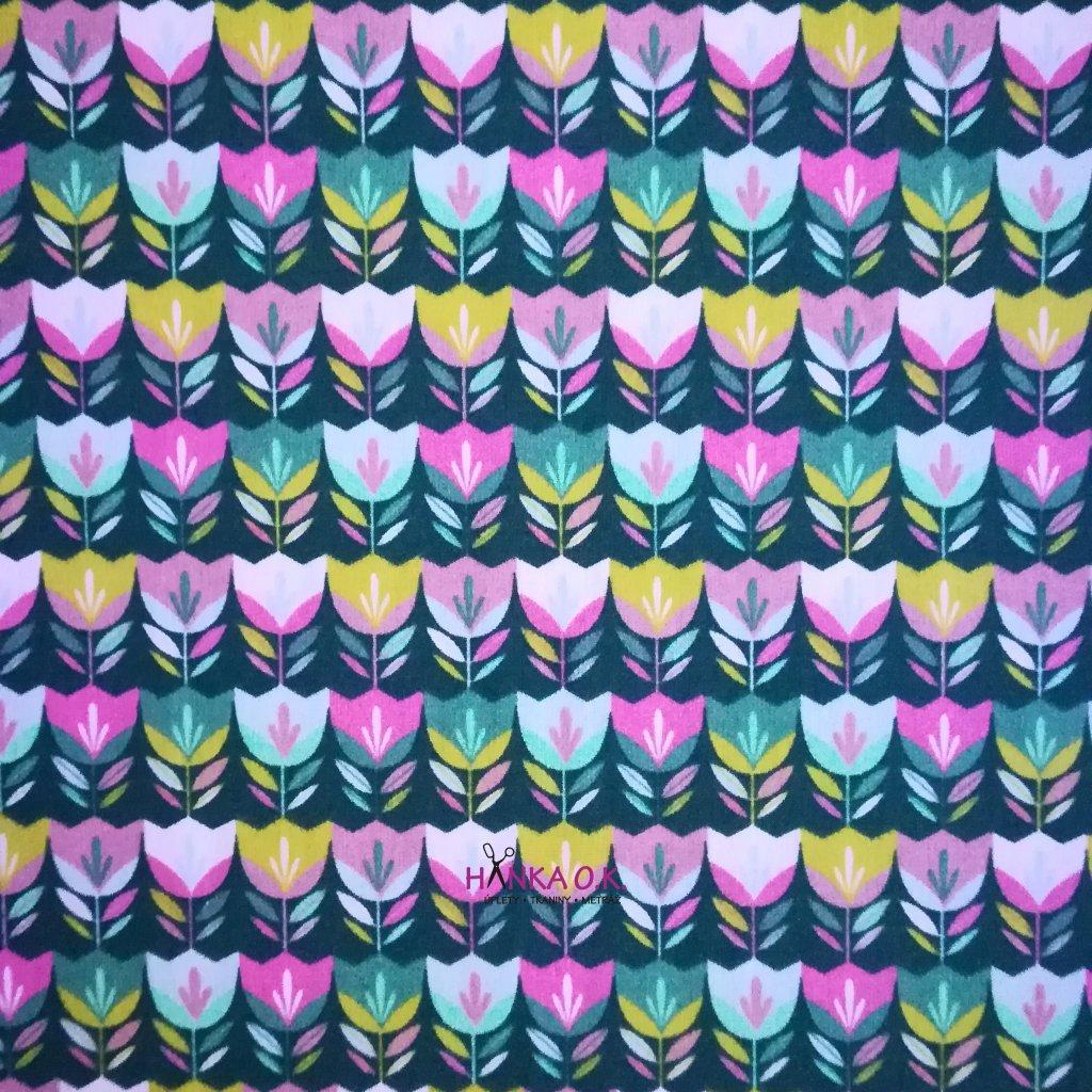 Bavlněná tkanina - plátno 130g - tulipány