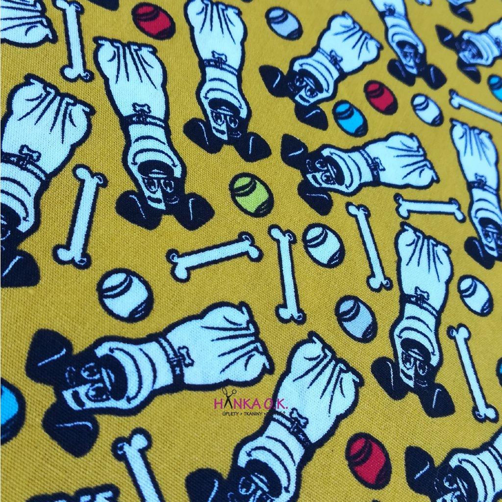 Bavlněná tkanina - plátno 130g - tajný život mazlíčků