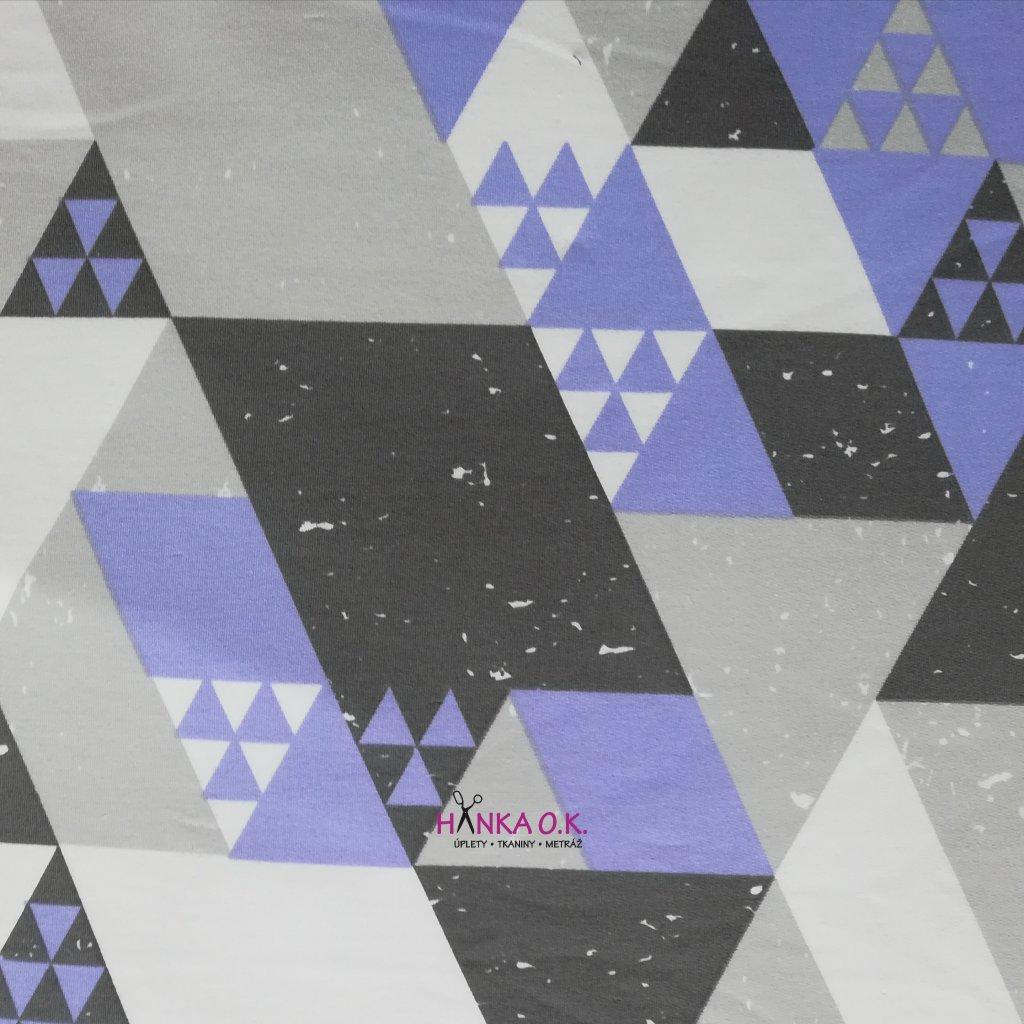 Teplákovina trojúhelníky fialová, šedá, bílá