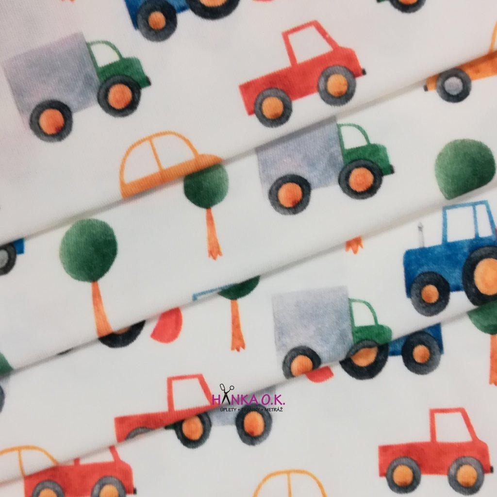Úplet auta a stromy digi tisk 200g