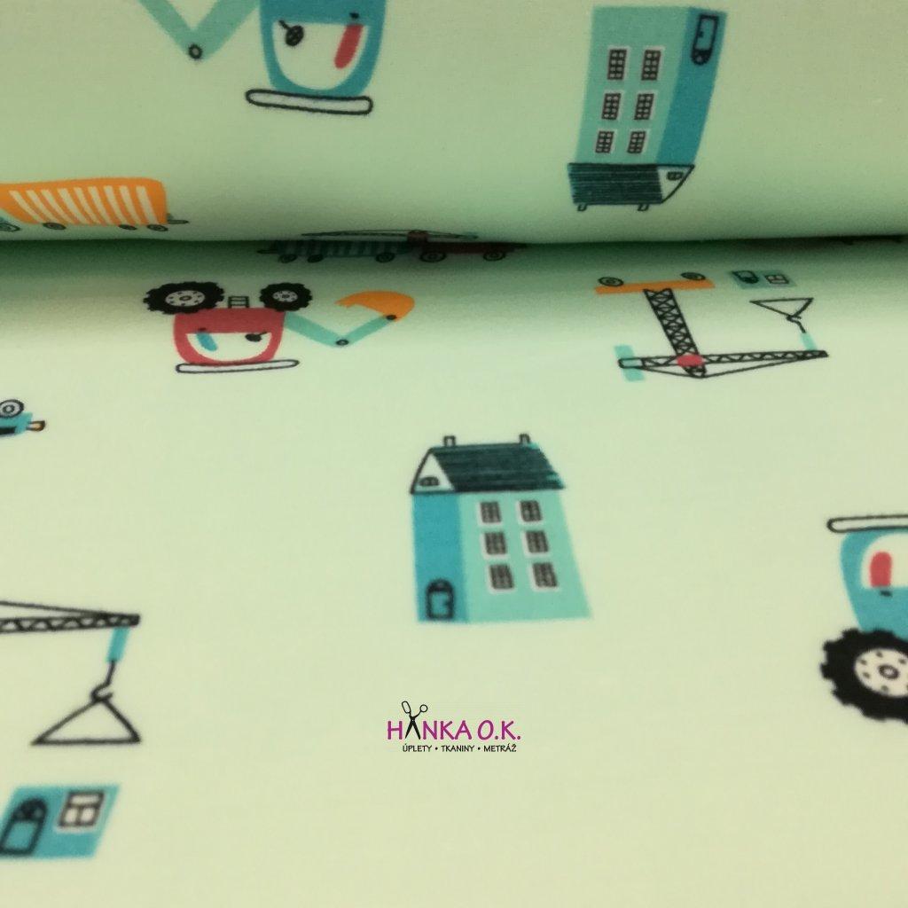 Teplákovina počesaná pro děti stavební stroje na mint světlé 280g