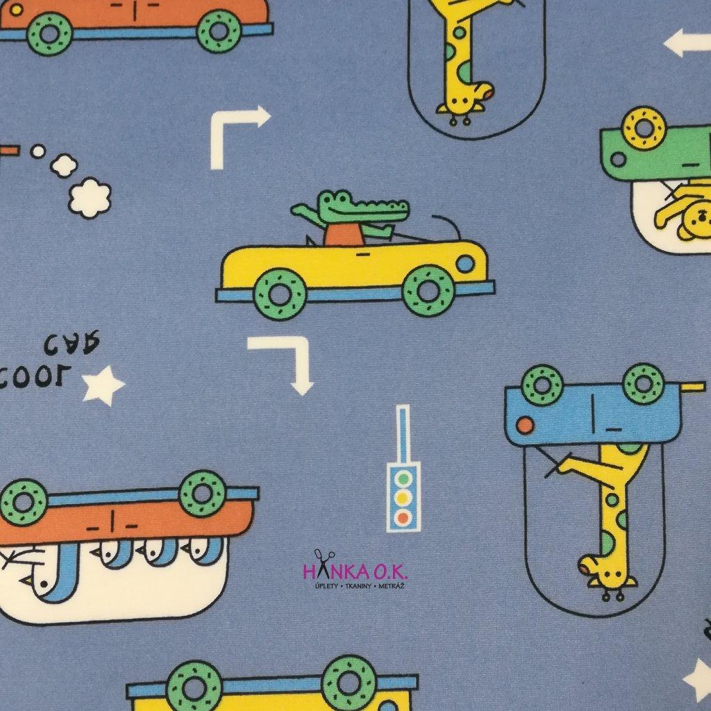 Teplákovina počesaná pro děti zoo doprava na fialkové 280g