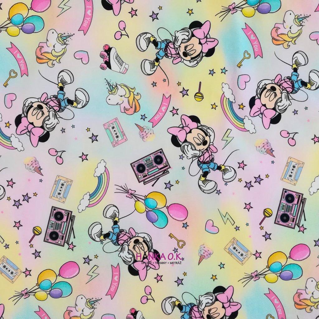 Teplákovina nepočesaná digitisk disco Minnie 240g