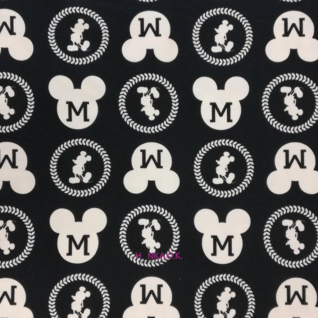 Teplákovina nepočesaná digitisk černobílý Mickey 240g