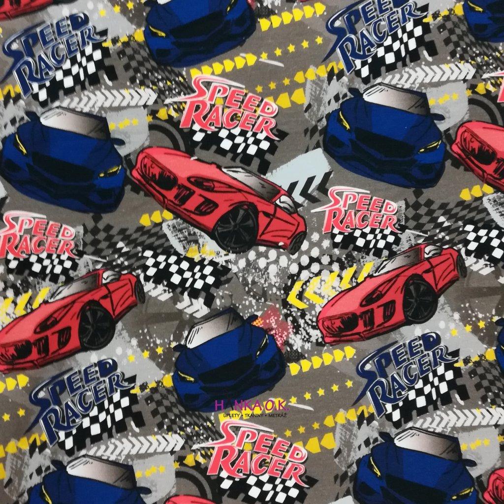 Teplákovina nepočesaná digitisk auta speed racer 240g