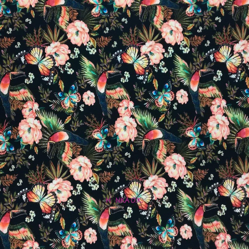 Teplákovina nepočesaná digitisk tukani, motýli a květy na černé 240g
