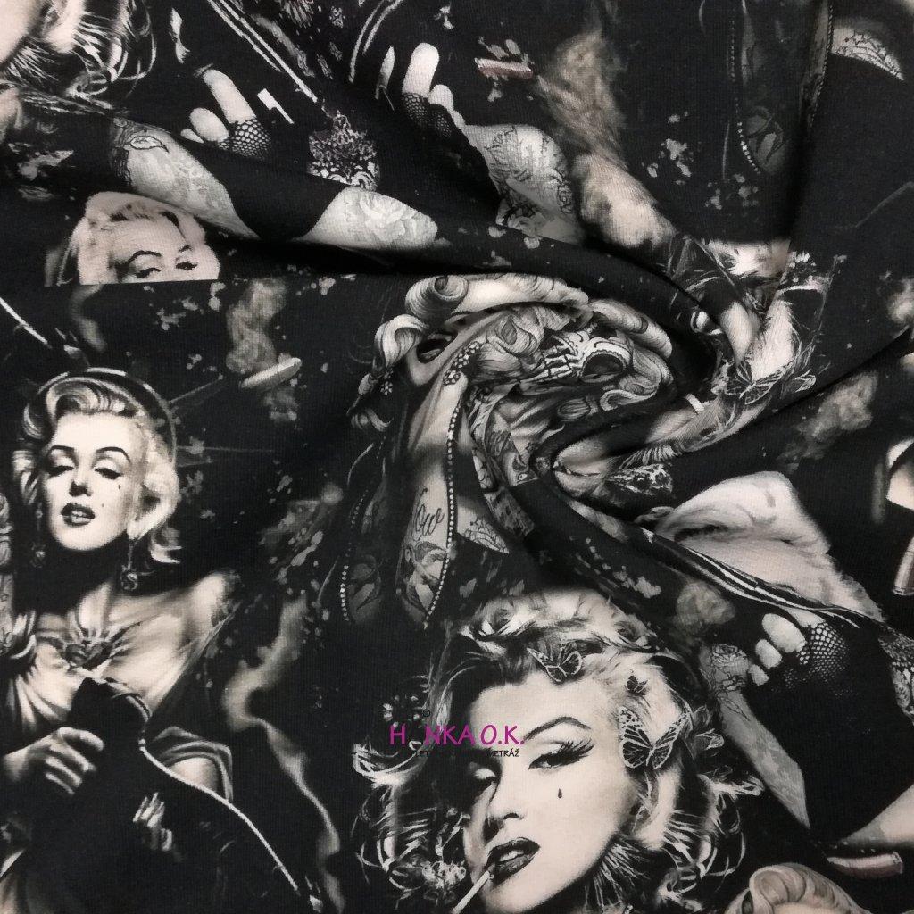 Teplákovina nepočesaná digitisk Marilyn Monroe 240g